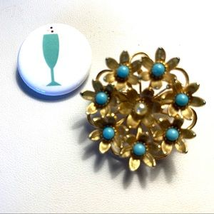 TURQUOISE AND PEARL VTG BROOCH